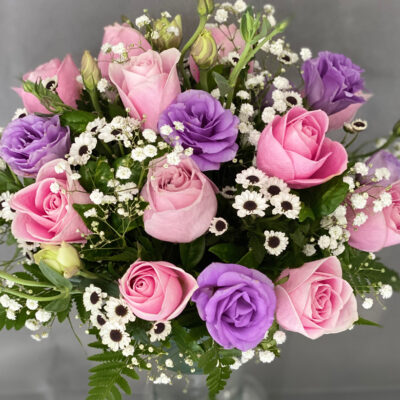 pink roses purple eustoma