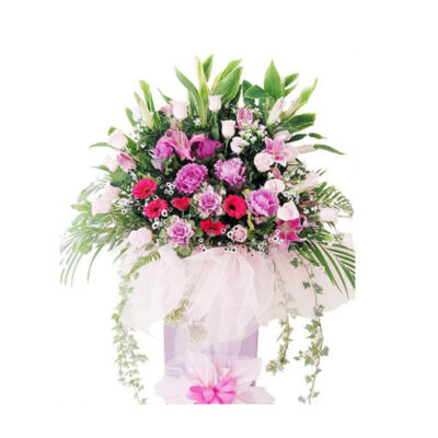 corporate-flowers-amarand,star gazers, cabbage, pink roses
