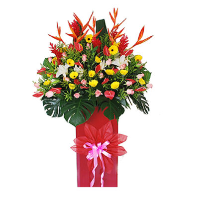 corporate-flowers-asia-,local bird, yellow gerberas, red anthuriums, pink roses red ginger with monstera
