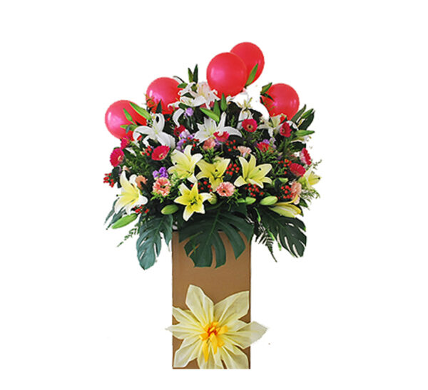 corporate-flowers-barossa,. with hypericum and red balloons