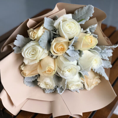 white and champagne roses