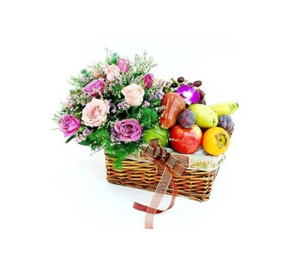Sweet Temptation...PINK AND YAM ROSES WITH ASSORTED FRUITS