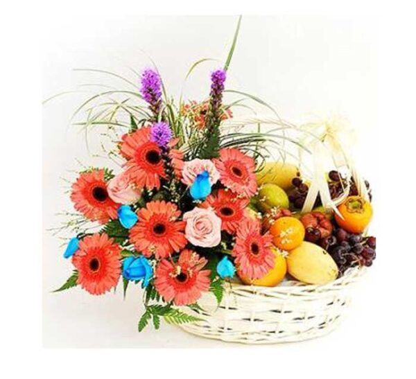 Cheery Daisies...ARRANGEMENT OF FLOWERS WITH ASSORTED FRUITS