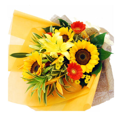hand-bouquet-oasis-garden1-new, sunflowers, yellow  lilies, red gerberas