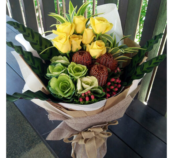 hand-bouquet-picardy-garden-new, white and green brasica, protea