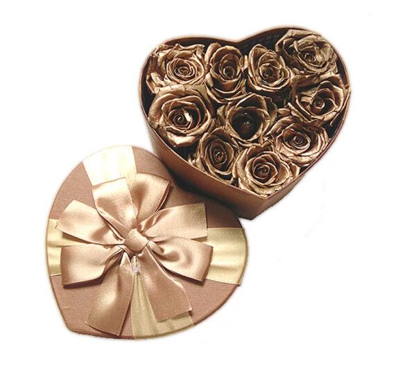 heart shaped box with preserved roses
