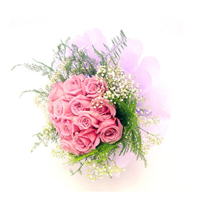 pink roses with baby's breath and asperagus ferns