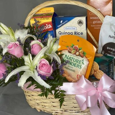 White Lilies and Pink Roses Hamper