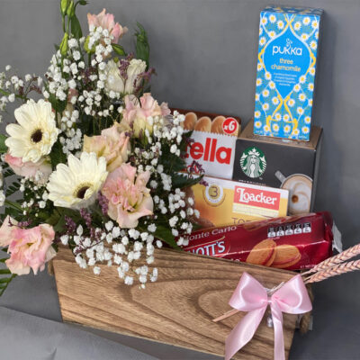 Starbucks & Flowers in Wooden Basket