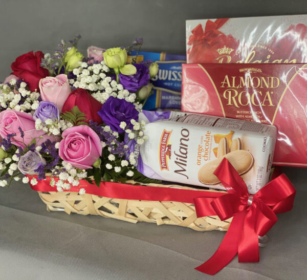 Pink & Red Roses in a Chocolate Hamper