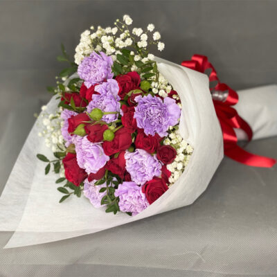 Purple Carnations, Red Rose