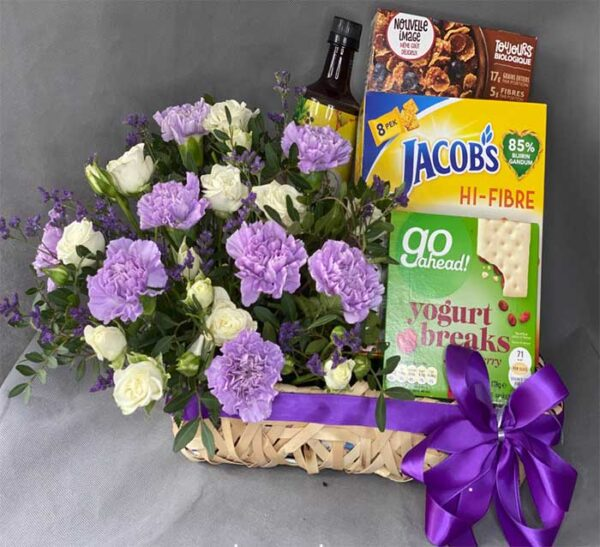 Purple & White Flower Hamper