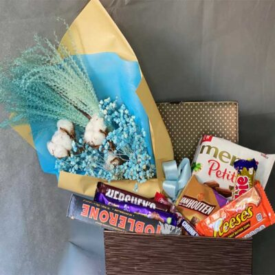 Chocolate Box Hamper with Bouquet